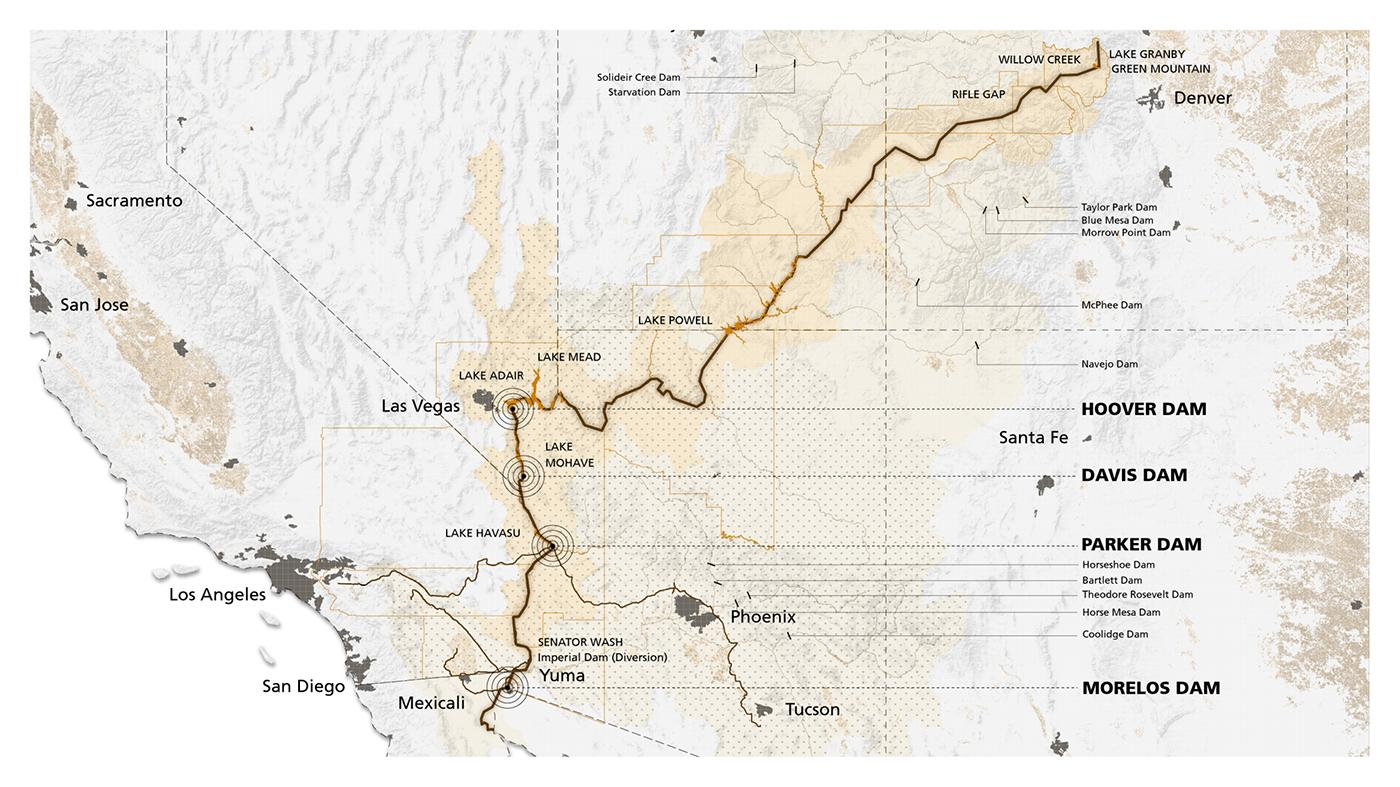 Map of Water Storage & Diversion along the Colorado River