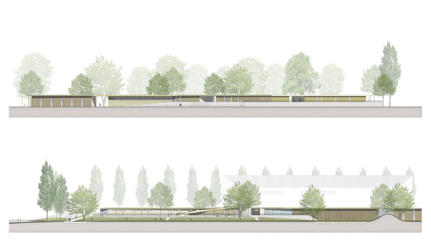 Illustrative Site Sections of Lido Park & New Roof Structure