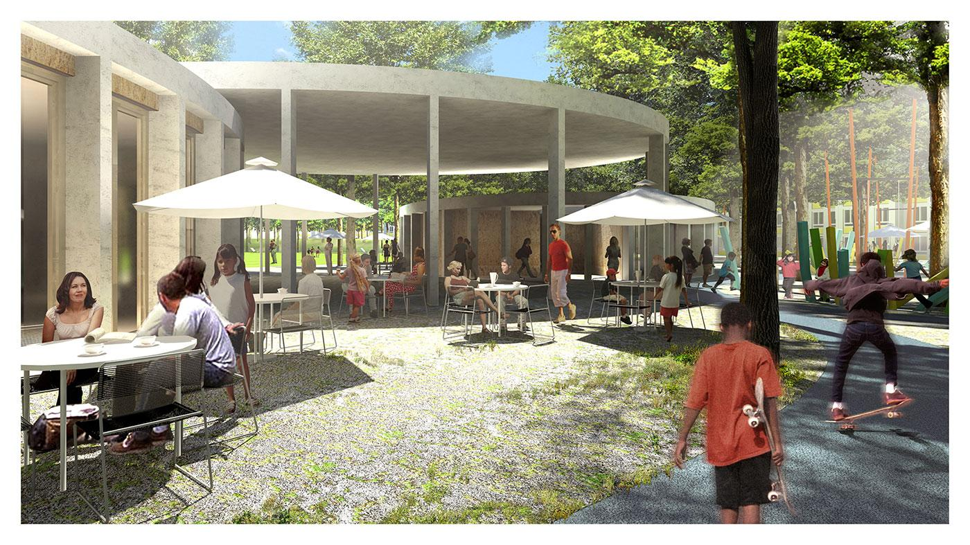 View of New Park Pavilion & High Tree Canopy